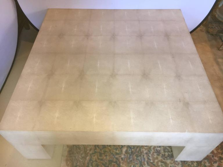 Nice Linen Wrapped Furniture #2   Palatial Karl Springer Parsons Style Linen  Wrapped Coffee Table