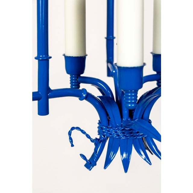 Blue Palm Beach Style Blue Faux Bamboo Lanterns, Mid Century, Pair For Sale - Image 8 of 13
