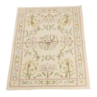 Indian Handwoven Wool Dhurrie Rug - 4′1″ × 5′10″ For Sale
