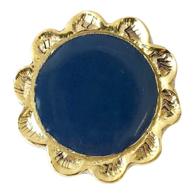 Addison Weeks Michelle Nussbaumer Large Enamel Knob, Brass & Navy For Sale