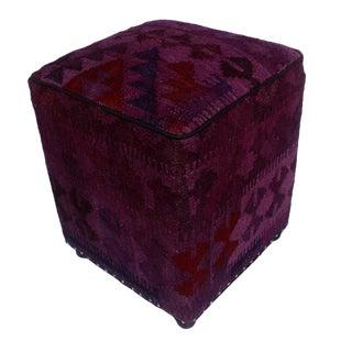 Arshs Dion Purple/Drk. Gray Kilim Upholstered Handmade Ottoman