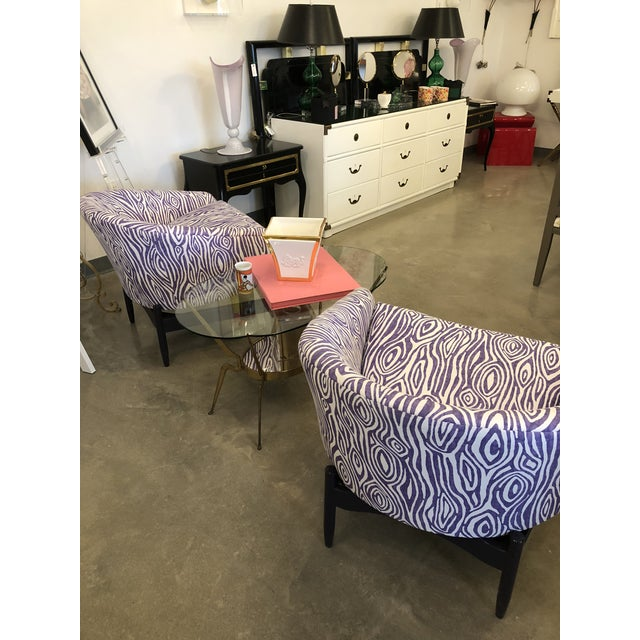 Mid Century Modern Pair of Lawrence Peabody Newly Upholstered Barrel Back Lounge Chairs - Image 9 of 12