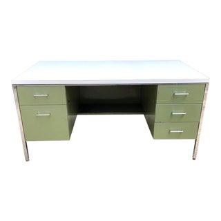 1960s Industrial Green Tanker Desk For Sale