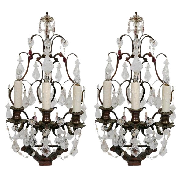 Pair 19th C. French Bronze and Rock Crystal & Amethyst Glass Girandoles For Sale