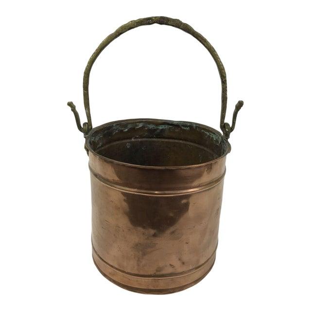 Vintage Rustic Primitive Country Copper Pail Bucket Cast Bronze Handle For Sale