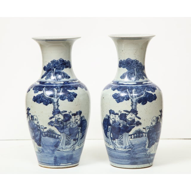 Blue Chinese Export Vases - A Pair For Sale - Image 8 of 13