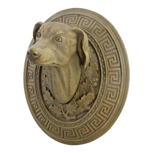 Vintage Wooden Hand-Carved Decorative Dog Head in the Middle of the 20th Century For Sale