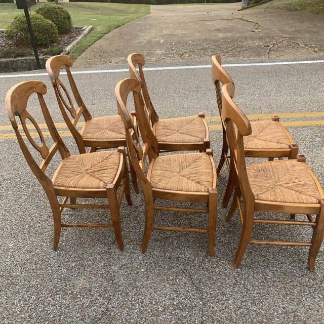 2010s Pottery Barn Natural Wood Finish Rush Seat Chairs - Set of 6 For Sale - Image 5 of 12