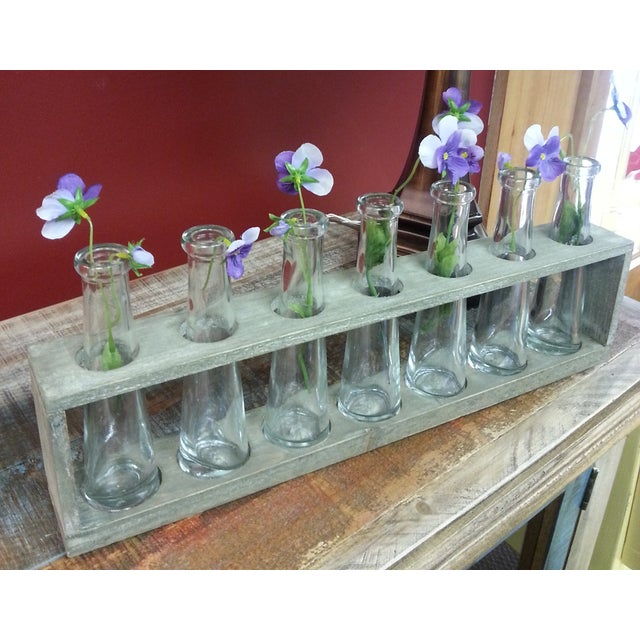 Wood Tray With 7 Glass Bud Vases - Flower Vases For Sale - Image 5 of 9