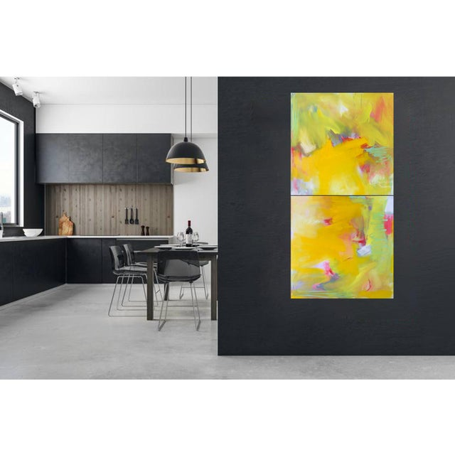 """Up and Away"" by Trixie Pitts Large Abstract Diptych Oil Painting For Sale - Image 11 of 13"