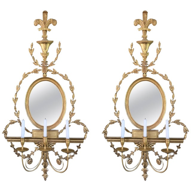 Pair of Adam Style Wall Sconces For Sale