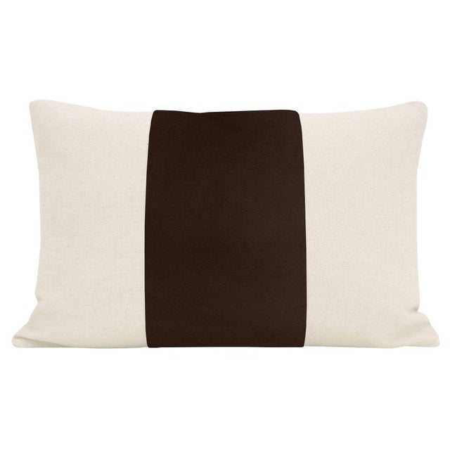 """Pair of beautiful 12"""" X 18"""" natural linen pillows with a Chocolate velvet center and solid natural linen reverse...."""