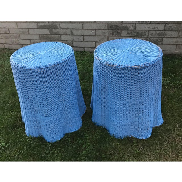 Draped Wicker Rattan Tables - A PAir - Image 2 of 8