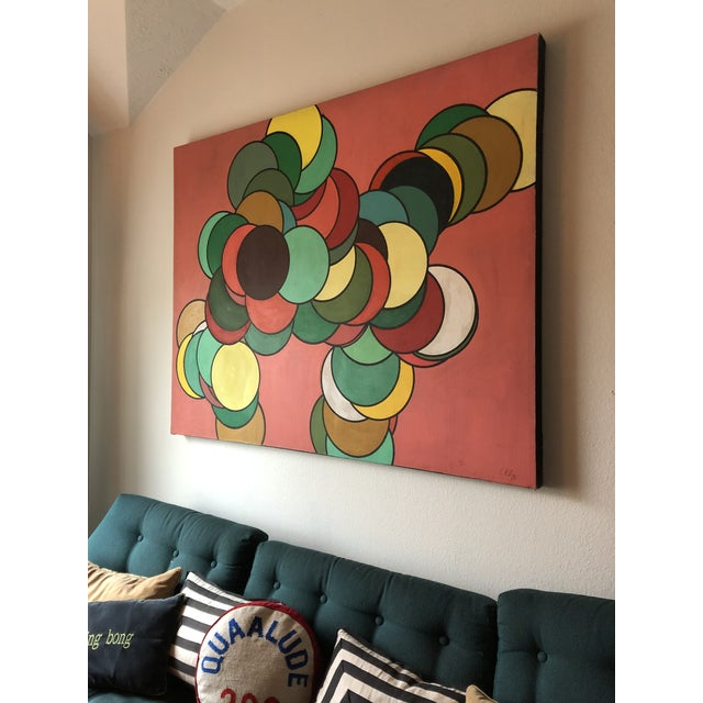 Canvas Mid Century Oversized Op Art Painting For Sale - Image 7 of 8