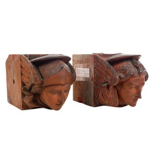 18th Century Figural Terracotta Angel Heads Bricks From William Gladstone House - A Pair