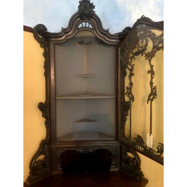 Antique Carved Italian Corner Cabilet W Cupid Door For Sale - Image 4 of 5