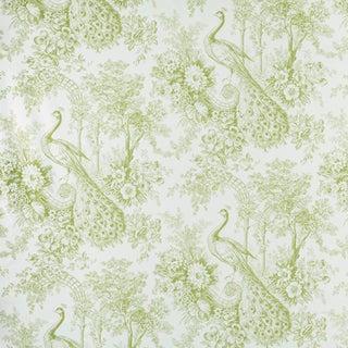 Sample, Suzanne Tucker Home Peacock Toile Print Fabric in Pistachio