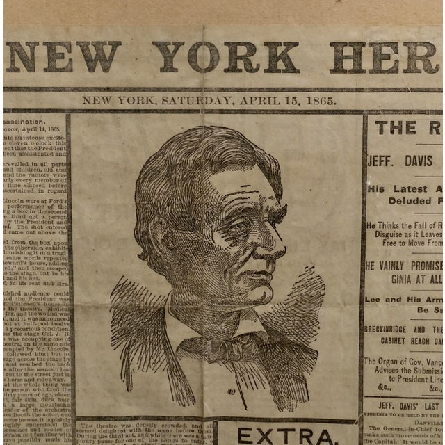 Lincoln Assassination The New York Herald 15 April 1865 Front Page For Sale - Image 4 of 9