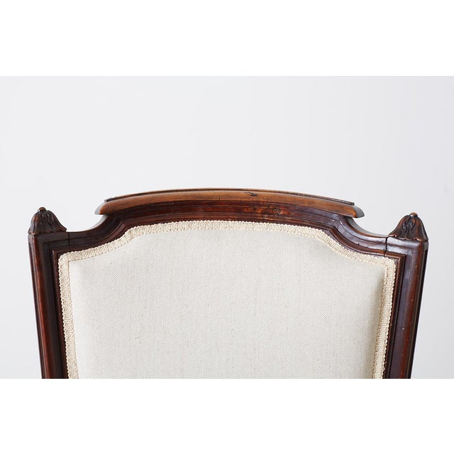 Early 20th Century Pair of Maison Jansen Louis XVI Style Walnut Bergères For Sale - Image 5 of 13