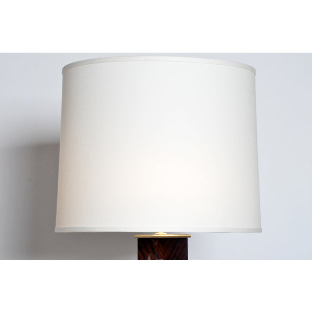 Contemporary Step Base Walnut Veneer Floor Lamps - a Pair For Sale In Chicago - Image 6 of 11