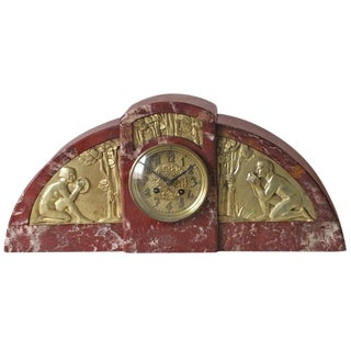Important French Art Deco Marble Clock With Gilt Bronze Details For Sale