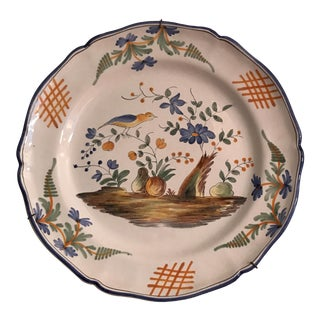 Ceramic French Faience Wall Platter For Sale
