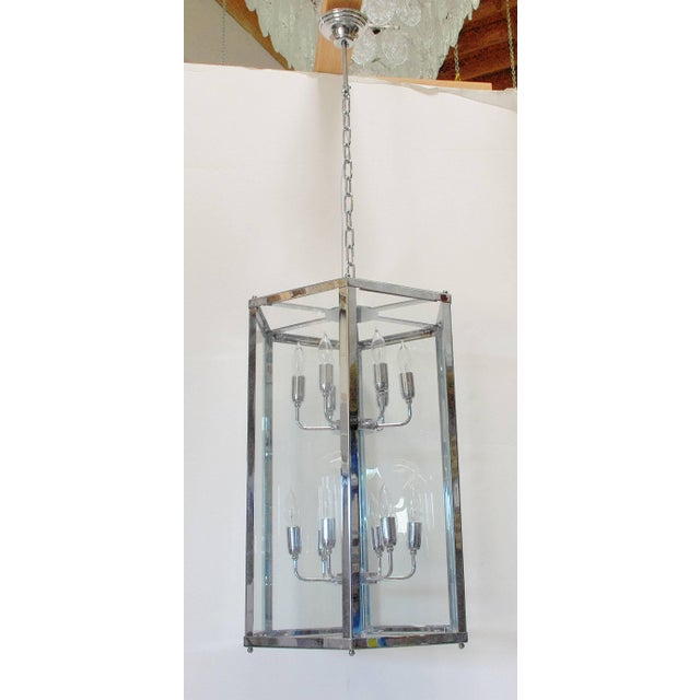 Modern Italian hexagon shaped lantern with glass and chrome frame. 12 lights / max 40W each Diameter: 20 inches / Height:...