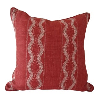Peter Dunham Red and White Linen Pillow