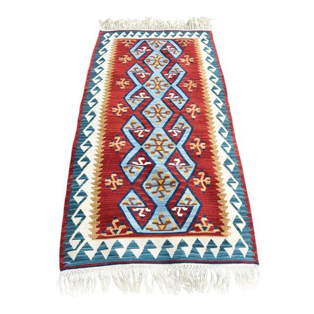 Ram's Horn Motif Design Turkish Anatolian Vintage Oushak Kilim Runner For Sale