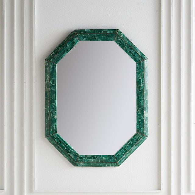 Glass Tessellated Green Marble Mirror by Maitland Smith For Sale - Image 7 of 7