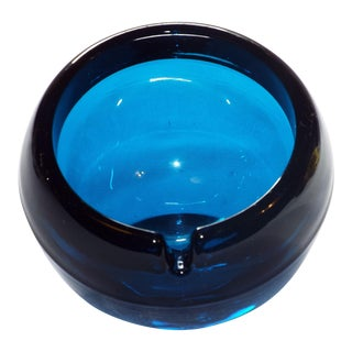 Viking Glass Mid-Century Modern Blue Orb Ashtray For Sale