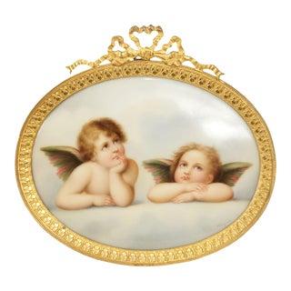 Antique Dresden Hand Painted Oval Porcelain Plaque of Cherubs, Gilt Bronze Frame For Sale