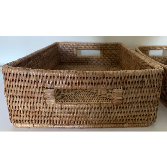 2010s Rattan Woven Baskets - a Pair For Sale - Image 5 of 11