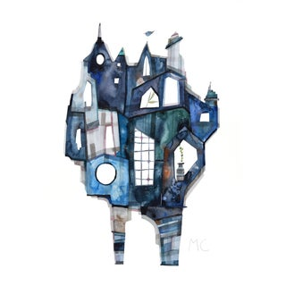 """Blue Town"" Original Watercolor Painting by Maria C Bernhardsson For Sale"