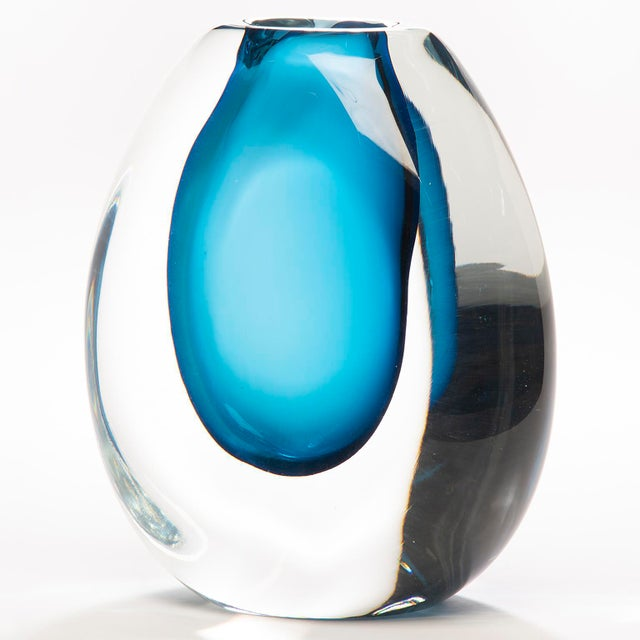 Tall Blue Sommerso Art Glass Vase For Sale - Image 11 of 12