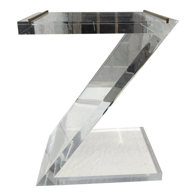 Lucite Z Drinks Table With Brass Detail For Sale