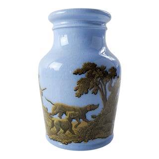 Antique 1856 English Blue Porcelain Prattware Jar For Sale
