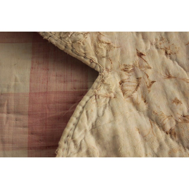 "Textile Antique Early 18th C. French Vichy Check Ruffle Bed Quilted Valance - 17' x 20"" For Sale - Image 7 of 8"