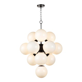 La Dame Chandelier in White Glass Oil Rubbed Bronzel For Sale