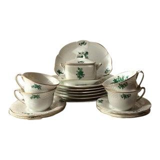 Vintage Vista Allegre Green Rose Porcelain Set For Sale