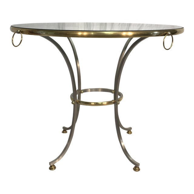 Jansen Style Steel & Brass Table For Sale