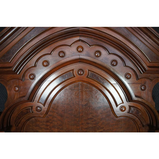 Wood Antique Victorian Carved Walnut Highback Full Bedframe For Sale - Image 7 of 13