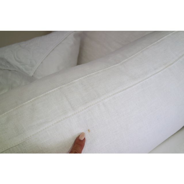 Custom Designer White Linen Slipcovered Sofa - Image 7 of 11