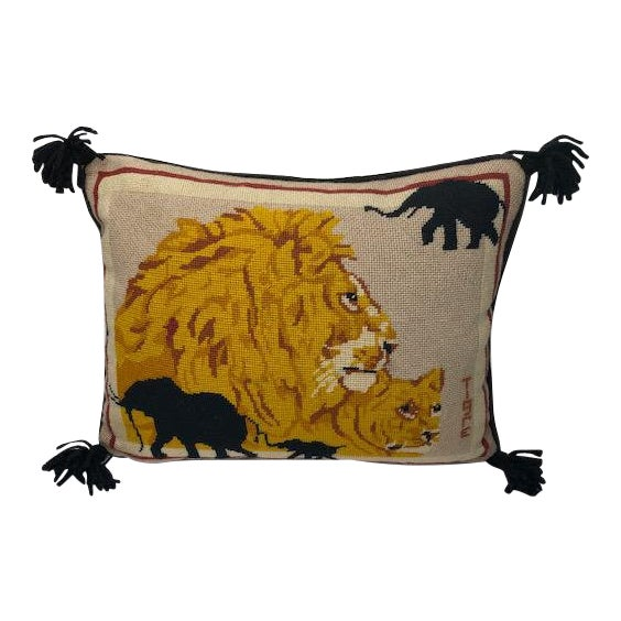 1970s Vintage Needlepoint Lion Pillow For Sale
