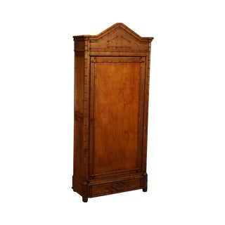 Antique Faux Bamboo Tall Armoire Cabinet For Sale