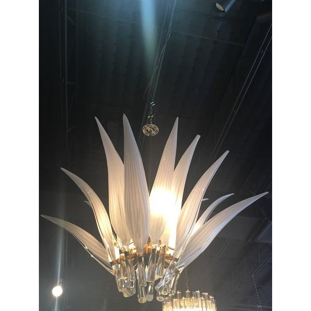 Murano Glass & Brass Italian Leaf Chandelier For Sale In West Palm - Image 6 of 8