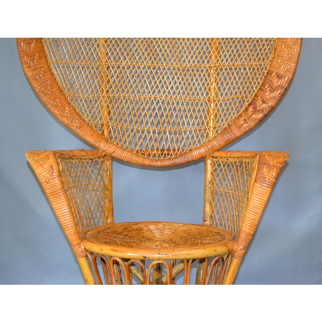 Vintage Boho Chic Handcrafted Wicker, Rattan and Reed Peacock High Back Chair For Sale - Image 4 of 13