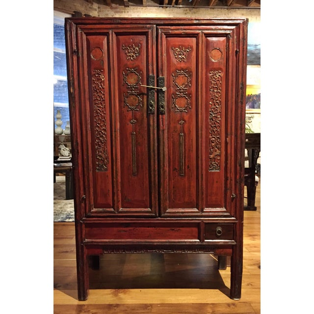 Antique Chinese Red Carved Cabinet - Image 2 of 9