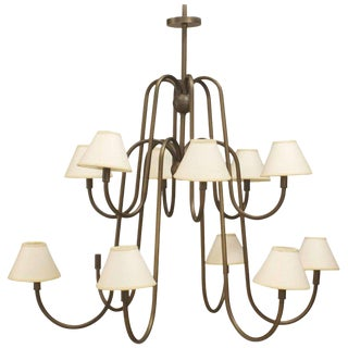 French Post-War Design Twelve-Arm Chandelier For Sale
