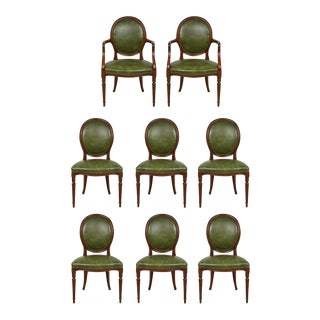 Set of 8 Leather-Upholstered Mahogany Dining Chairs in the Georgian Manner For Sale